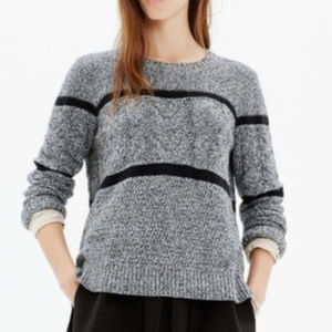 Madewell Patternstorm Pullover Sweater Gray Blk XS